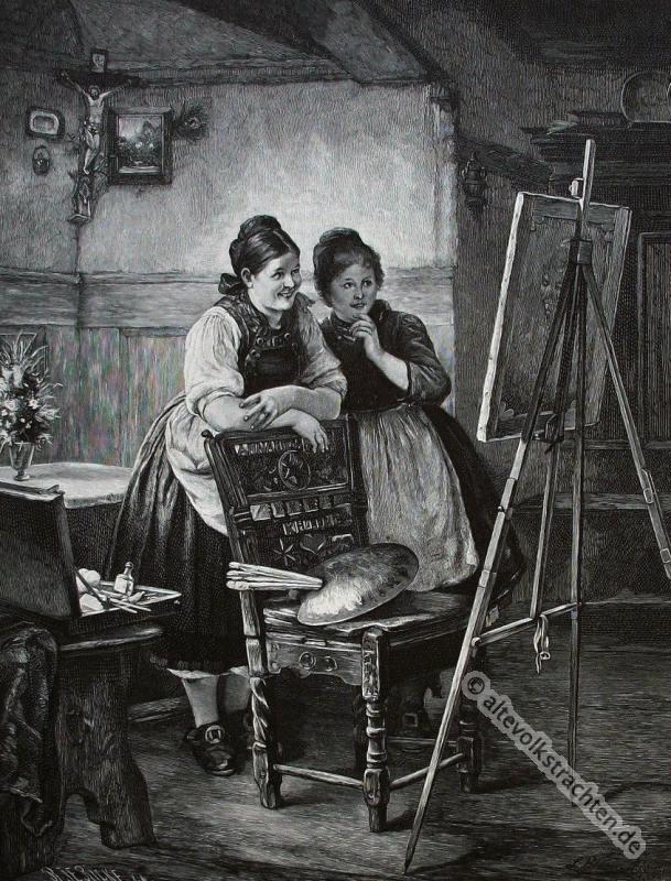 Bäuerinnen, Bauertrachten, Hessen, Ludwig Blume-Siebert, Trachten, Historische Kleidung