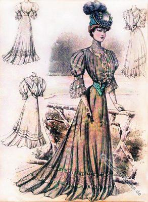 Belle Époque Kleider. Kostüme der Gründerzeit. Jugendstil Mode.