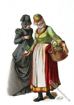 Deutsche Trachten, Volkstracht Elsass, Strassburg, Bauerntrachten, Alte Dirndl, 16. Jahrhundert, Mode