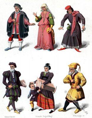 Schweiz historische Kostüme. Mittelalter Kleidung. Gewandungen, mittelalterliche Gewandung.