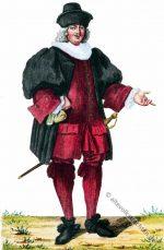 Arzt in der Kleidung des Barock aus Basel. Anno 1600.