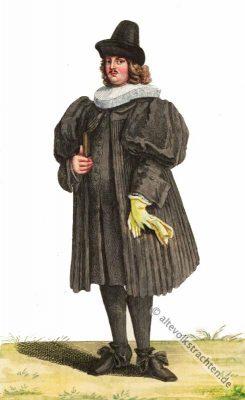 Barock Pfarrer Kostüm. Barock Schnallenschuhe. 17. Jahrhundert Mode. Alte Schweizer Trachten und Kostüme.