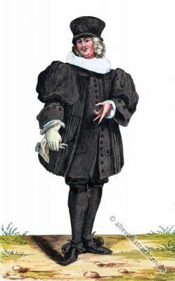 Barock Professor Kostüm. Schnallenschuhe. 17. Jahrhundert Mode. Alte Schweizer Trachten und Kostüme.