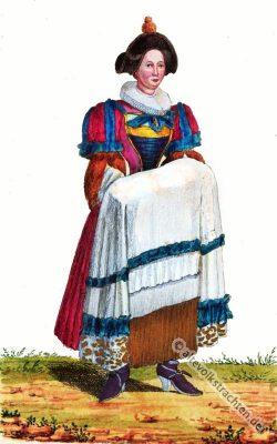 Taufpatin Kleid. Barock Kostüm. Alte Schweizer Tracht. Schnallenschuhe. 17. Jahrhundert Mode.