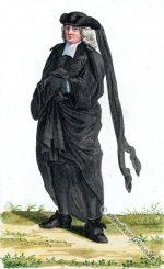 Ein Basler Bürger in Trauerkleidung. Mode des Barock.