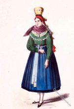 Tracht aus Saalgrund. Mariabildjungfrau um 1850.