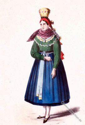 Saalgrund Mariabildjungfrau. Original Unterfranken Dirndl. Alte Bayerische Originaltrachten. Historische Kostüme.