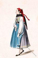 Alte Tracht aus Aub, Ochsenfurter Gau um 1850.