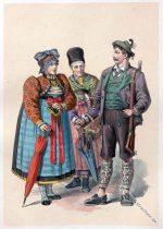 Alte Oberbayrische Volkstrachten um 1850.