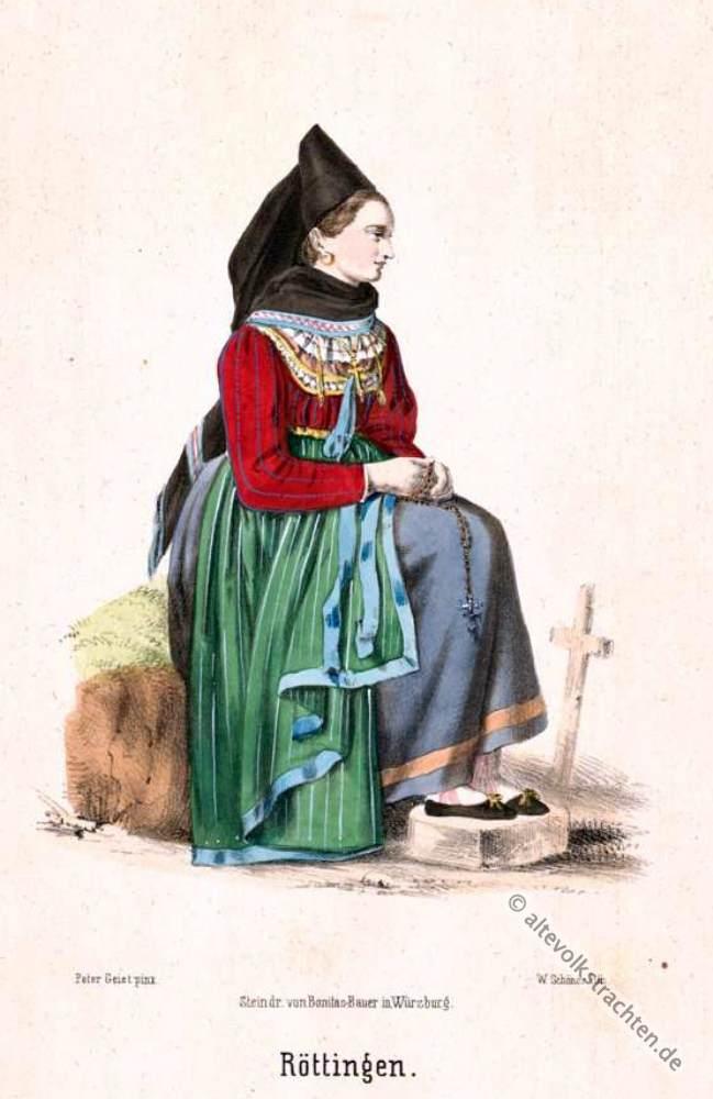 Röttingen, Unterfranken, Bayerische Trachten, Unterfranken, Bäuerin, Bauerntracht, Trachten, Volkskostüme, Historische Volkstrachten,