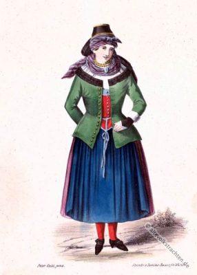 Bayerische Trachten. Alte Dirndlmode aus Unterfranken. Original Dirndl Kleid.