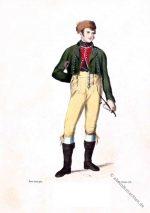 Tracht aus Riedenheim bei Aub, Unterfranken um 1850.