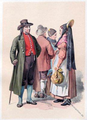 Bayerische Trachten. Alte Dirndlmode aus Schwaben. Original Dirndl Kleid.