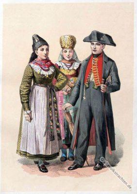 Bayerische Trachten, Unterfranken, Arnstein, Brautpaar, Neustadt a. d. Saale, Brautkostüm, Volkstrachten, historische Kleidung, Modegeschichte, Kostümgeschichte,