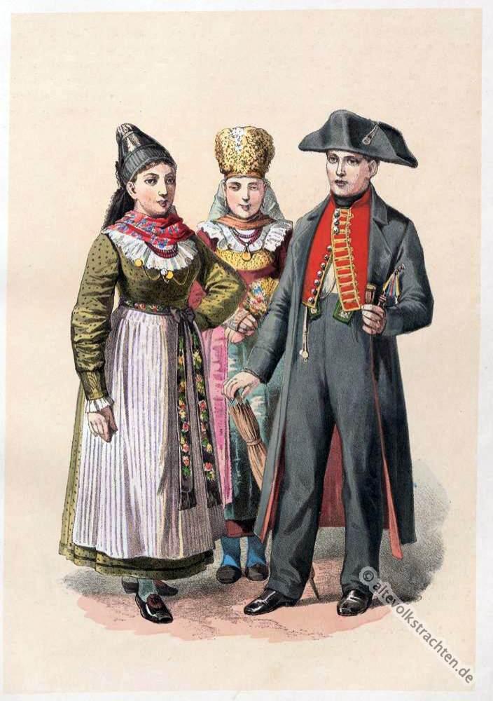 Bayerische Trachten, Arnstein, Brautpaar, Neustadt a. d. Saale, Brautkostüm, Volkstrachten, historische Kleidung, Modegeschichte, Kostümgeschichte,