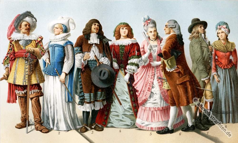 Barok Kostüme. Rokoko Kleider. 17. und 18. Jahrhundert Mode..