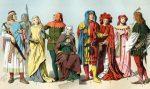 Deutsche Mittelalter Kostüme des 11. – 15. Jahrhunderts.