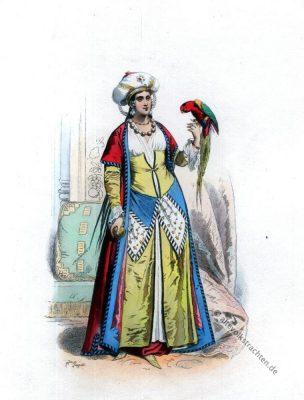 Ägypten Kostüm. Traditionelle ägyptische Trachten. 18. Jahrhundert Mode.
