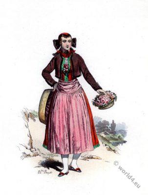 Blumenmädchen, Hamburger Tracht, Trachten, Trachtenmode, Kostümkunde, Volkstrachten, 19. Jahrhundert, Modegeschichte, historische Kleidung,