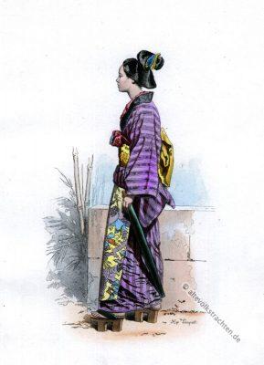 Japanischer Kimono. 19. Jahrhundert. Japan traditionelle Kleidung.