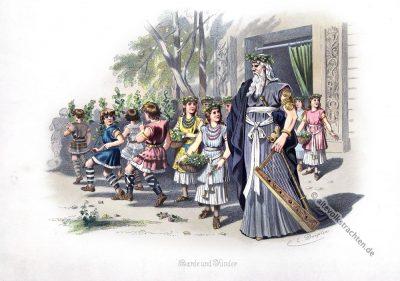 Germanischer Barde. Germanische Heldensage. Kostüm design. Das Rheingold. Der Ring des Nibelungen. Komponist Richard Wagner. Deutsche Oper.