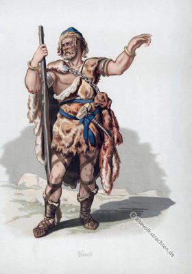 Fasolt. Germanischer Krieger. Germanische Heldensage. Kostüm design. Das Rheingold. Der Ring des Nibelungen. Komponist Richard Wagner. Deutsche Oper.