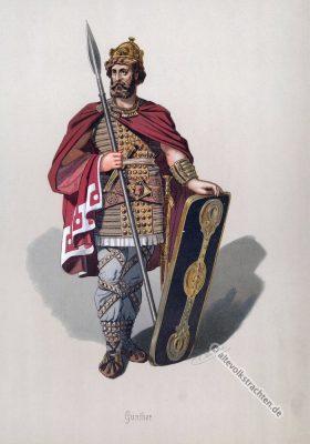 Gunther. Kostüm design. Das Rheingold. Der Ring des Nibelungen. Komponist Richard Wagner. Germanischer Krieger. Germanische Heldensage.