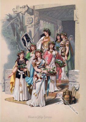 Germanische Frauen Kostüme. Kostüm design. Das Rheingold. Der Ring des Nibelungen. Komponist Richard Wagner. Deutsche Oper. Ring-Zyklus. Carl Emil Doepler.
