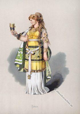 Gutrune. Kostüm design. Das Rheingold. Der Ring des Nibelungen. Komponist Richard Wagner. Deutsche Oper. Germanische Frau.