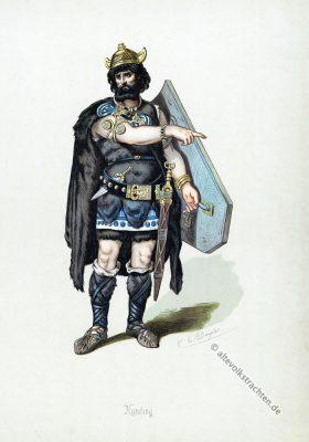 Kunding. Kostüm design. Das Rheingold. Der Ring des Nibelungen. Komponist Richard Wagner. Deutsche Oper. Germanischer Krieger. Germanische Heldensage.