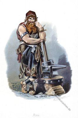 Kostüm design. Mime. Germanische Sage. Zwerg Schmied. Rheingold. Der Ring des Nibelungen. Komponist Richard Wagner. Deutsche Oper. Ring-Zyklus. Carl Emil Doepler.