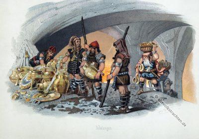 Nibelungen. Germanische Sagen. Kostüm design. Das Rheingold. Der Ring des Nibelungen. Komponist Richard Wagner. Deutsche Oper. Ring-Zyklus. Carl Emil Doepler.