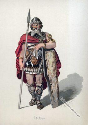 Germanischer Krieger. Kostüm design. Das Rheingold. Der Ring des Nibelungen. Komponist Richard Wagner. Deutsche Oper. Ring-Zyklus. Carl Emil Doepler.