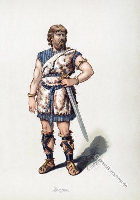 Siegmund. Kostüm design. Das Rheingold. Der Ring des Nibelungen. Komponist Richard Wagner. Deutsche Oper. Ring-Zyklus. Carl Emil Doepler.