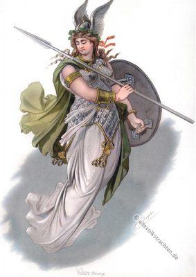 Walküre Helmwige. Kostüm design. Das Rheingold. Der Ring des Nibelungen. Komponist Richard Wagner. Deutsche Oper. Ring-Zyklus. Carl Emil Doepler.