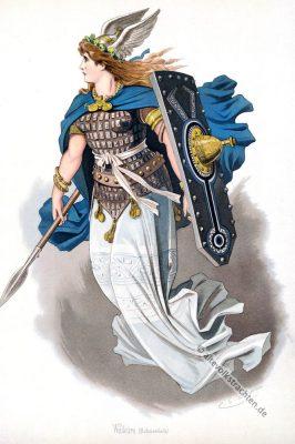 Walküre Schwertleite. Kostüm design. Das Rheingold. Der Ring des Nibelungen. Komponist Richard Wagner. Deutsche Oper. Ring-Zyklus. Carl Emil Doepler.