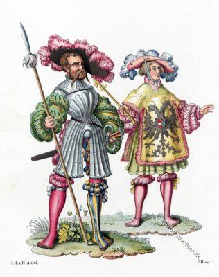 Deutscher Landsknecht Kostüm. Kaiserlicher Herold Kleidung. Mode der Renaissance. 16. Jahrhundert Militär.