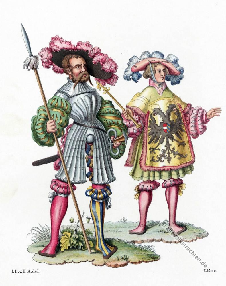 Deutscher Landsknecht, Kaiserlicher Herold, Mode der Renaissance. 16. Jahrhundert, Militär, Modegeschichte, Kostümgeschichte,