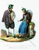 Trachten aus dem Duxer Tal, Tirol Österreich um 1830.