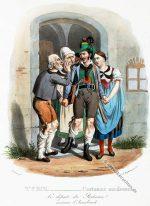 Abschied eines Tiroler Freiheitskämpfers aus Innsbruck um 1830.