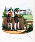 Tiroler Scheibenschiessen. Historische Trachten um 1830.