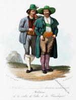 Bauerntrachten aus dem Vinschgau, Tirol um 1830.