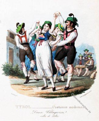Tiroler Volkstanz, Tirol, historische Kostüme, Modegeschichte, Kostümgeschichte, Österreich, Historische Kleidung,