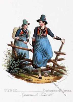 Zillertal, Dirndl, Tirol, historische Kostüme, Modegeschichte, Kostümgeschichte, Österreich, Historische Kleidung,