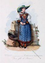 Traditionelle Tracht aus Brixen. Tiroler Kostüme um 1830.