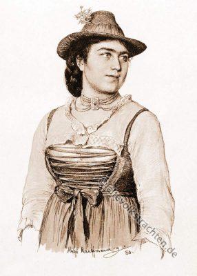 Base Kostüm. Traditionelle Bauernhochzeit. Oberbayerische Trachten. Bayerische Dirndl. Hugo Kaufmann.