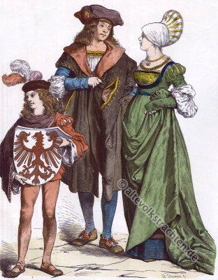 Deutsche Bürger Trachten. Mode im 16. Jahrhundert. Renaissance Kostüme