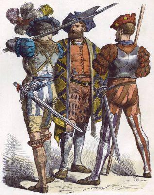 Landsknecht Trachten. Landsknechte, 16. Jahrhundert Militär Kostüme