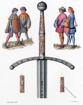 Karl von Preussen Schwert. Mittelalter Kostüme. Gewandung. Kleidung der Gotik.