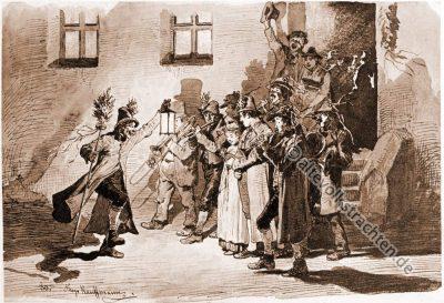 Heimgeigen. Brauchtum. Traditionelle Bauernhochzeit. Oberbayerische Trachten. Bayerische Dirndl. Hugo Kaufmann.